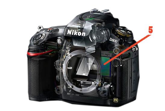 Obraz przedstawiający wygląd matrycy i procesora w lustrzance cyfrowej.