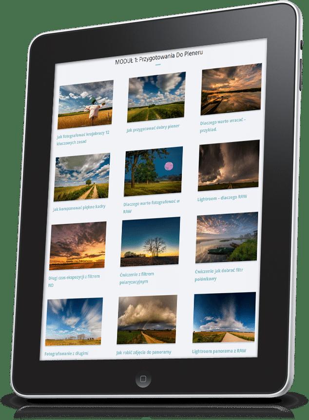 Obraz przedstawiający tablet, który prezentuje zestaw filmów dostępnych w kursie fotografii krajobrazowej.