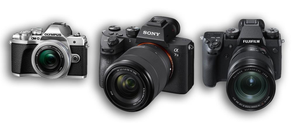 Obraz prezentujący porównanie modeli bezlusterkowych aparatów fotograficznych.