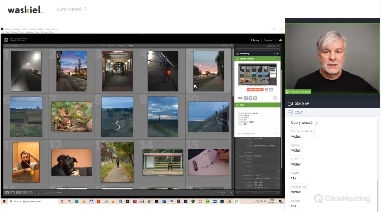 Obraz przedstawiający, jak wyglądają zajęcia w internetowej szkole fotografii portalu Waskiel.pl