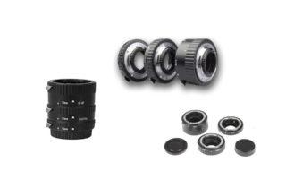 Obraz przedstawiający pierścienie pośrednie wykorzystywane w fotografii makro.
