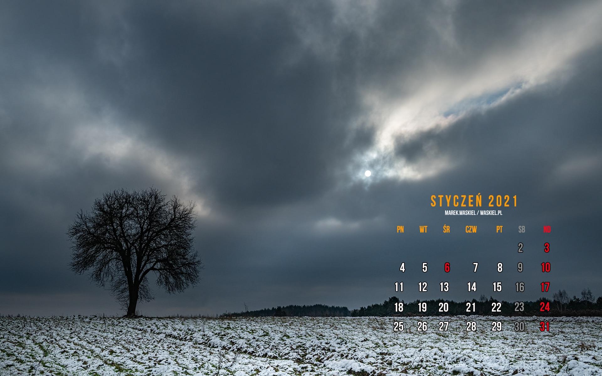 Obraz przedstawiający kalendarz fotograficzny na pulpit komputera styczeń 2021.