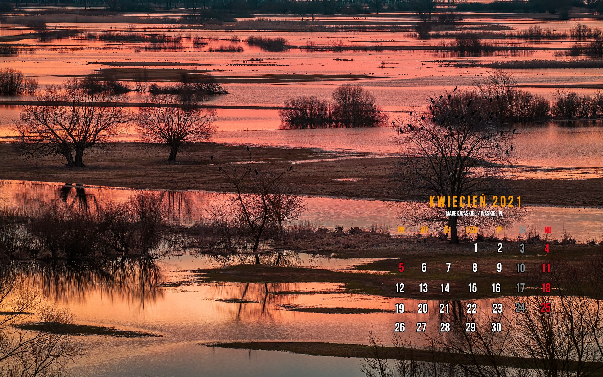 Obraz przedstawiający kalendarz fotograficzny na pulpit kwiecień 2021.